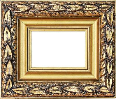 Picture Frame, Gold Frame, Stucco Frame, Antique, Old