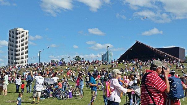 Park, People, Houston, Hermann, Cityscape, Buildings