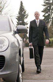 Businessman, Porsche, Luggage, Briefcase, Auto, Road