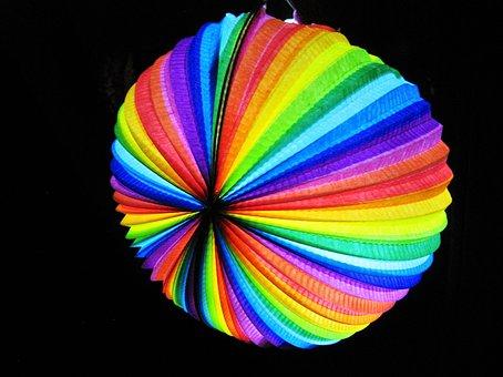 Colorful Lantern, Rainbow Colors, Stripes