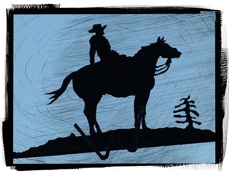 Horse, Rider, Relaxed, Cowboy, Silhouette, Metallic