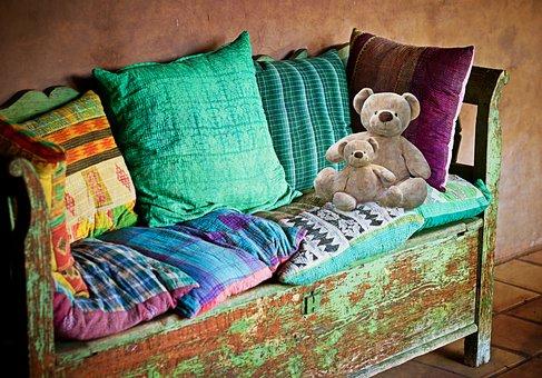 Sofa, Bench, Bank, Pillow, Furniture, Substances, Bear