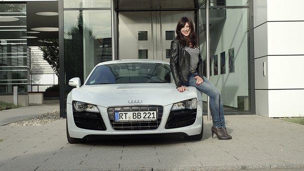 Business Woman, Audi, R8, V10, Sports Car