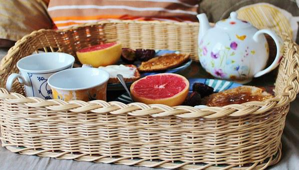 Breakfast, Teapot, Tray, Woven, Bed, Pillow, Cozy