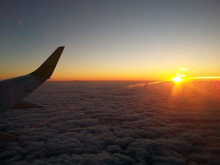 Flight, Flying, Plane, Airplane, Travel, Sunrise