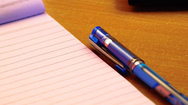 Notepad, Blue, Pen, Business, High Res, Workplace