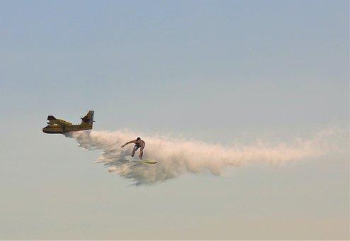 Photomontage, Aircraft, Canadair, Surfer, Fantasy