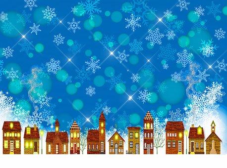 Winter Village, Snow, Brick Buildings