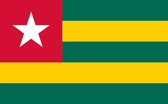 Flag, Togo, Togolese Republic, West Africa, Five, Equal
