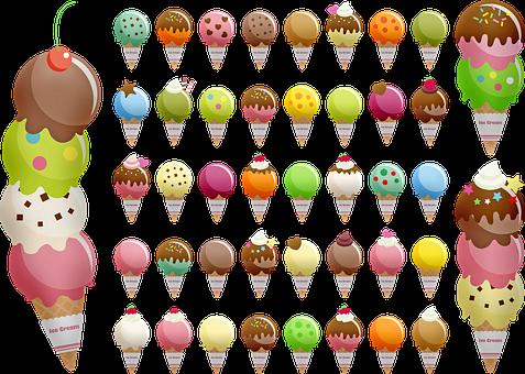 Ice Cream Cone, Variety Of Ice Cream, Waffle, Ice