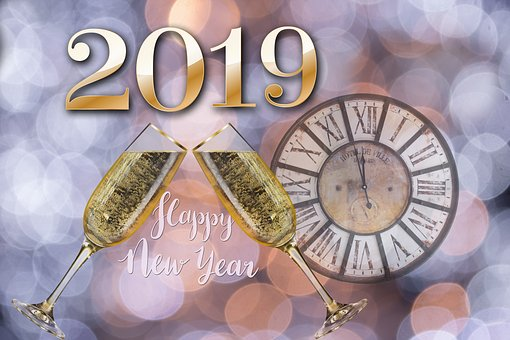 New Year's Day, New Year's Eve, 2019, Bokeh, Map