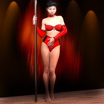 Dancer, Rod, Pol, Leather, Pool Dance, Elegance, Girl