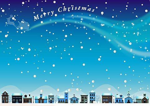Santa Claus In Sky, Snowflakes, Snowy Landscape