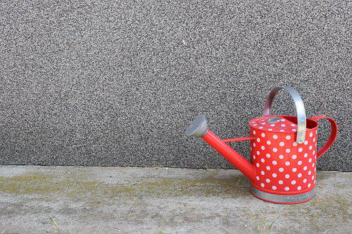 Wateringcan, Dotty, Red, White, Water, Can, Spots