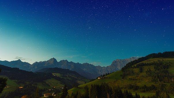 Alpine, Mountains, Night Sky, Landscape