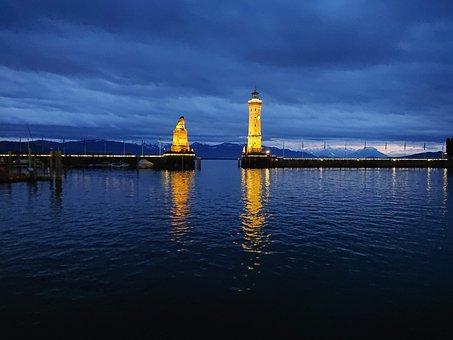 Lake, Lights, Dark, Landscape, Nature