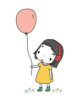 Little Girl, Balloon, Headphone, Music, Girl, Little