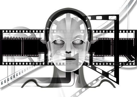 Demonstration, Projector, Black And White, Robot