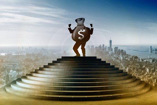 Stairs, Businessman, Business, Dollar, Winner, Success