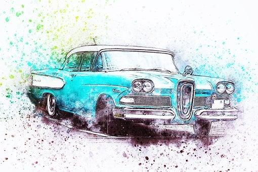 Car, Old Car, Oldtimer, Art, Watercolor, Vintage, Auto