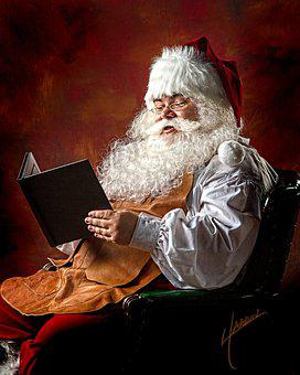 Santa, Christmas, Reading, Winter