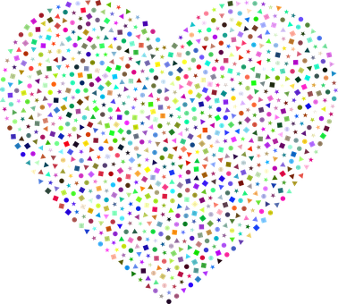 Heart, Love, Abstract, Confetti, Geometric, Shapes