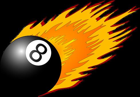 Eight, Ball, Flames, Black, 8, Billiard, Pool, Fire