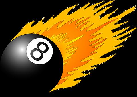 Eight, Ball, Flame, Pool, Snooker, Black, Orange