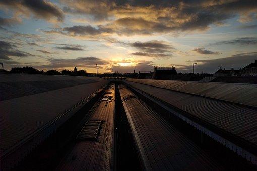 Train, Station, Sunset, Clouds, Railway