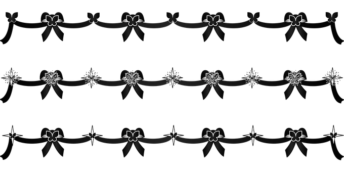 Graphic, Black Streamers, Streamers, Bows, Decorations