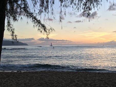 Sunset, Hawaii Sail Boat, Sup, Hawaii