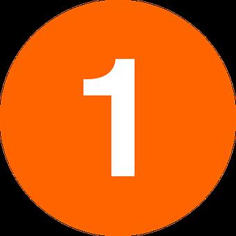 One, Circle, Orange, White, Number, 1, Orange Numbers