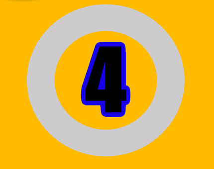 Four, Number, Numbers, Digit, Design, Sign, Text