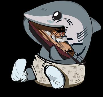 Jaws, Shark, Baby Shark, Orca, Boat, Play, Diaper, Bite