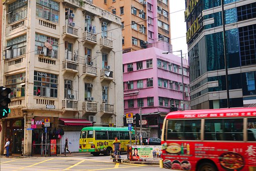 Hong Kong, Buildings, Traffic, Street Scene, Downtown