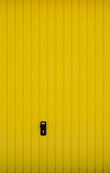 Goal, Garage, Yellow, Garage Door, Door, Gateway