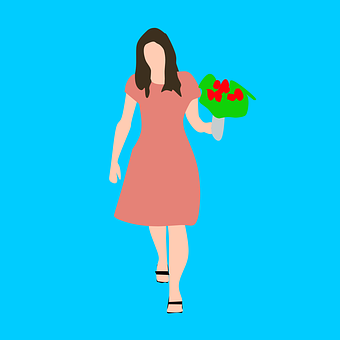 Woman, Walking, Holding, Flower, Dress, Colored, Happy