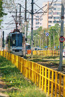 Tram, Transport, Public, Track, Metal Fence, Yellow