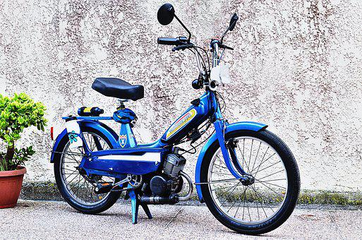 Moped, Motorcycle, Vintage, Retro, Morocco, Former