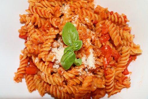 Noodles, Tomato, Tomatoes, Basil, Eat, Pasta, Delicious