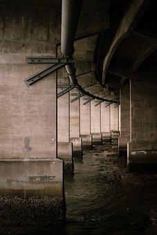 Bridge, Underpass, Water, Pipe, Architecture, Metal