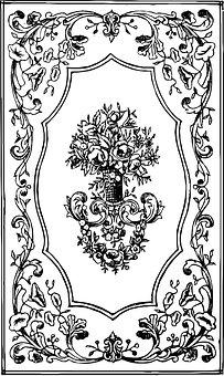 Floriated, Antique, Scroll, Fruit, Flower, Object, Book