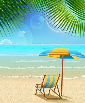 Beach, Sea, Umbrella, Beach Balls, Sunglasses