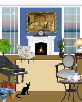 Living Room, Living, Black Cat, Fireplace, Armchair