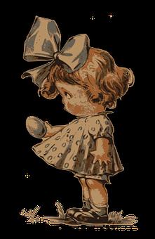 Girl, Young, Dress, Easter, Egg, Gift