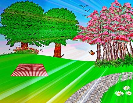 Sunrays Through Trees, Nature Landscape, Picnic, Path
