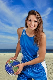 Girl, Volleyball, Beach, Planet, Team, Blue, Sea, Ball