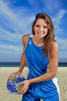 Girl, Volleyball, Beach, Planet, Team