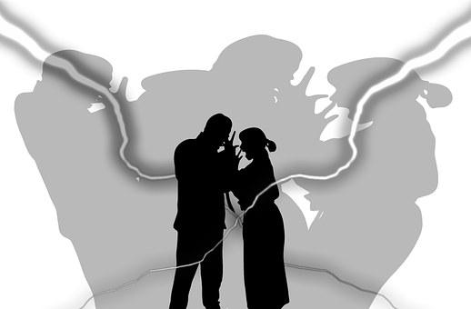 Man, Woman, Silhouettes, Flash, Shadow, Crisis