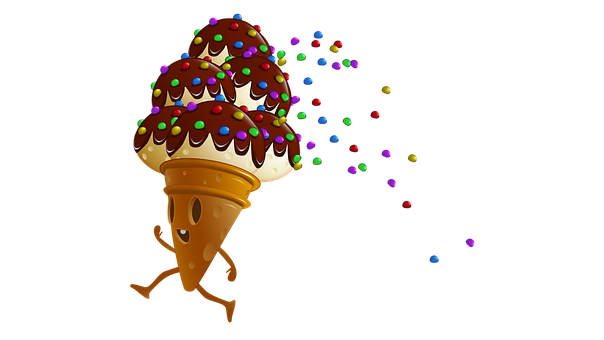 Ice Cream, Sweets, Cartoon, Character, Food, Party